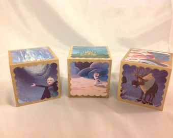 "Frozen (Anna & Elsa) Storybook Blocks - Set of 3 Wooden Blocks, 2.5"" cubes, featuring 18 different storybook illustrations"
