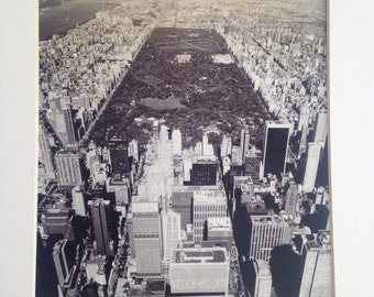 Vintage 1980's Original Matted Black and White Photo of Central Park / New York City Photograph
