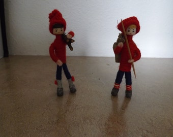 Two Homemade Weighted  Figurines with Winter Outfits