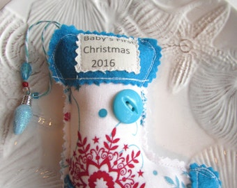 Baby's First Christmas Ornament 2016 Baby Ornament Keepsake Baby 1st Ornament Stocking Ornament Baby Word Ornament Fabric Stuffed Ornament