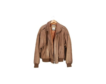 Men's Brown Suede Leather 90's Bomber Jacket // Men's 90's Bomber // E82