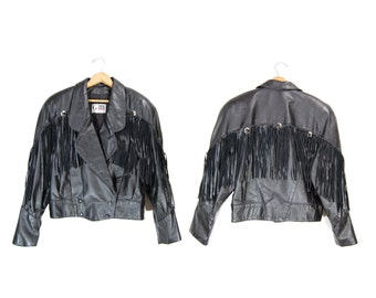 Medium Black Leather Fringe Jacket // Leather Motorcycle Jacket // E73