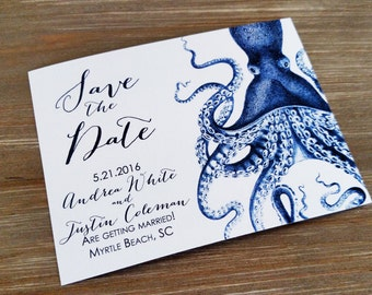 Blue Nautical Octopus Save the Date