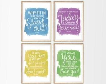 Dr Seuss Quotes set of 4 A4 Digital Prints. Instant Download.