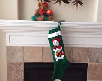 Hand Knitted Mrs. Snowlady Christmas Stocking