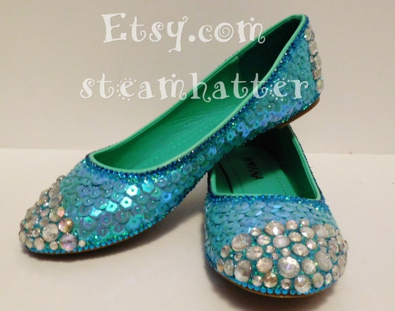 Mermaid mermaid shoes fish scale shoes mermaid flats custom for Fish scale boots