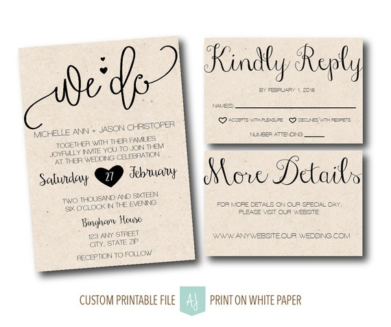 wedding invite with rsvp card details card printable wedding