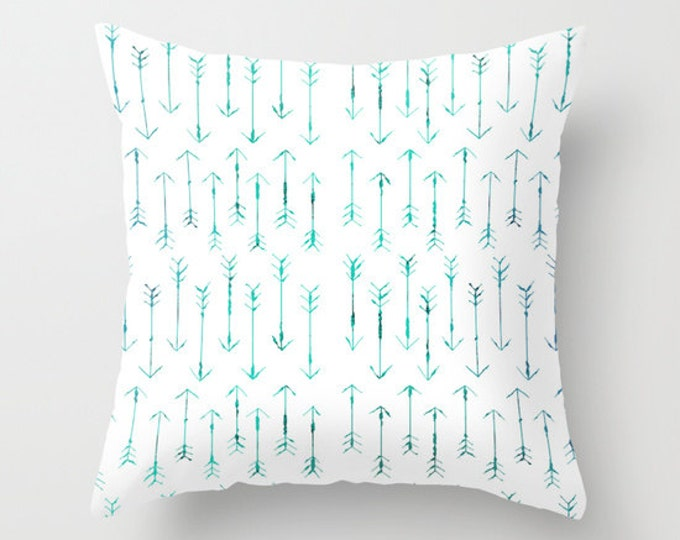 Teal Arrow Pillow Cover - Includes Pillow Insert -Teal Hand Drawn Arrows - Sofa Pillow - Throw Pillow - Made to Order