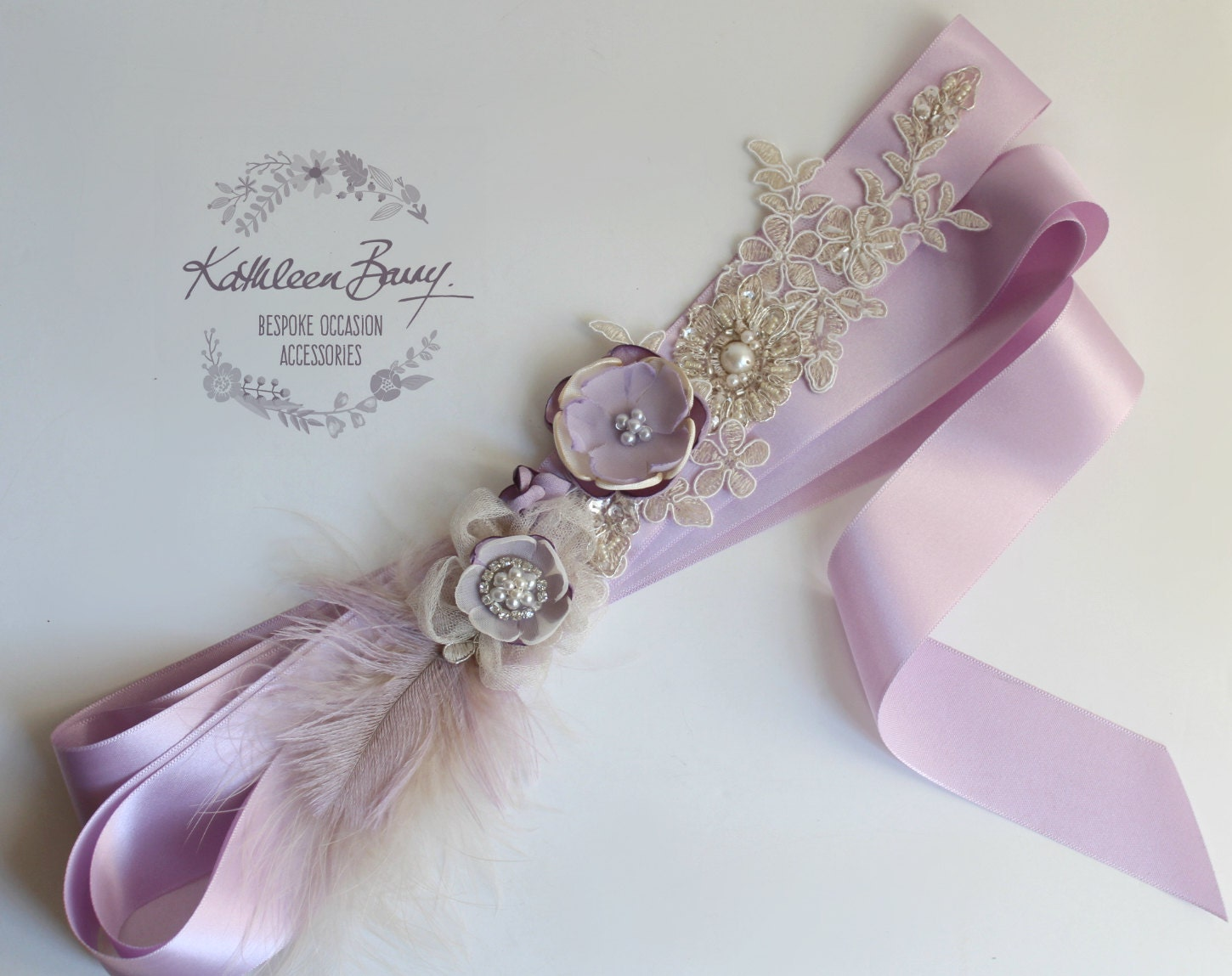 Wedding dress sash Bridal belt lace handmade flower feather