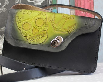 Small Leather Purse, Handmade Leather Bag, Cross body bag, Day of the Dead bag, Sugar Skull, Rockabilly bag made by Bespoke LeatherCraft