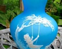 Westmoreland Blue Mist Mary Gregory Vase