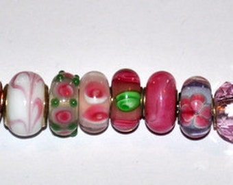 Lot of High Quality Handcrafted Pink and Green Murano European Beads