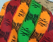 African Graphic Print Fabric--Orange, Red, and Green Stripes with Black Graphic Accents--Made in Mali--African Fabric by the HALF YARD