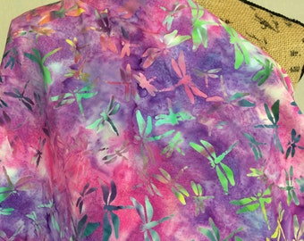 Batik Fabric--Hand Dyed Fabric--Indonesian Batik--Pink and Purple Tie Dye with Green & Turquoise Dragonflies--Batik Fabric by the HALF YARD