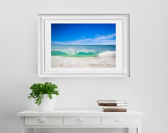 Summer Wave, Beach Photography Teal Turquoise Water Sea Ocean Blue Calm