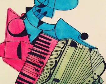 The Accordionist -Watercolor/ink 14 x 17 Illustration.