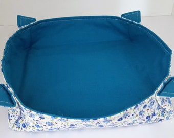 Blue Fabric Bowl. Fabric Pot. Storage Basket. Fabric Catch All. Fabric Caddy. CLEARANCE SALE