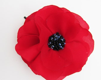 Beautiful Deep Red Poppy Bobby Pin,  Organza and Silk