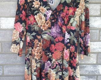 80s 90s crushed velvet floral cute grunge dress