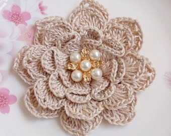 Crochet Flower in 3-1/4 inches in Cream YH - 225