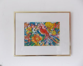 Vintage Abstract Painting Colorful Stylized Bird Among Flowers