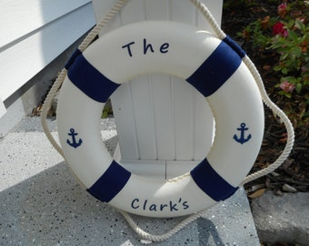 Personalized nautical 15 inch life ring / beach decor / nautical decor