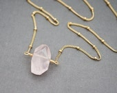Rose Quartz Crystal Necklace, Lightly Faceted Pink, Heart Chakra, Everyday Boho Gift for Her, Necklace