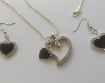 Handmade Black Heart Surrounded by Sparkle  Jewelry Set