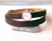 Personalized leather bracelet with name