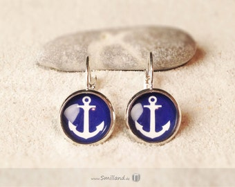 Earrings anchor blue / white