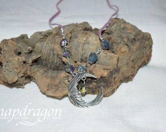 Moon necklace with druzy nuggets and faceted crystal