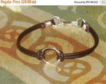 ON SALE Handmade Sterling Silver Karma Leather Bracelet