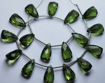 5 Matched Pairs,Olive Green Quartz Faceted Pyramid Trillion Shaped Briolettes,8x15mm