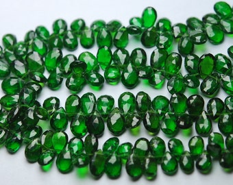 Gems Quality Strand,7 Inches Strand, AAA Super Rare Green Chrome Diopside Faceted Pear Shape, Size 7-8mm