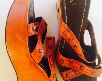 90s Orange Leather Platform Sandals Peep Toes, Studded Platform Shoes J. Vincent 7M