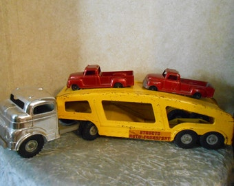 1950's Structo Car Carrier with 2 Matching Structo Pick-Up Trucks
