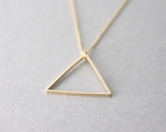Triangle necklace - gold - geometric necklace