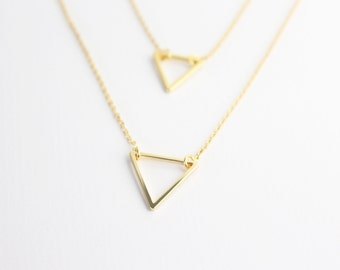 Open Triangle Necklace // Layering necklace // Gold Triangle necklace