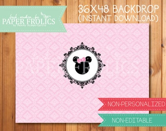 """Minnie Mouse Printable Backdrop Pink 48"""" x 36"""", Digital, DIY, Instant Download"""