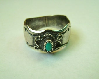 turquoise and sterling band, L. Reeves, size 7.5