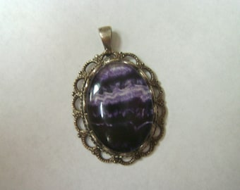 vintage deep purple amethyst pendant, sterling
