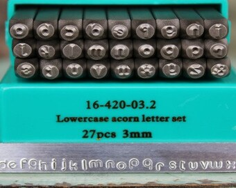 3mm Acorn Font Alphabet Letter Lowercase Stamp Set- 3MM Lowercase Jewelry Metal Stamps- SGCH-ACL3Mm