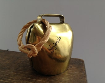 Vintage brass cow bell Large Brass colored cow bell Norway Gjende souvenir