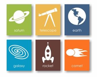Outer Space Decor, Space Nursery, Rocket Art, Boys Room Decor, Astronomy Art, Childrens Art, Kids Wall Decor, Science Art, Playroom Art