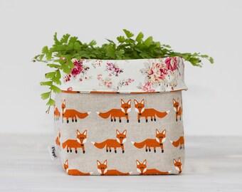 Fabric box fox, storage bin foxes, nursery decor