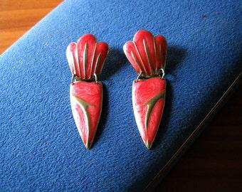 Pink Enameled Metal Earrings