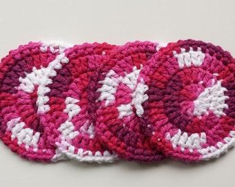 Crochet Coasters - Set of 4 - Raspberry Swirl