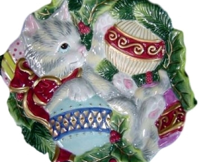 Fitz & Floyd Christmas Plate, Wall Hanging Plate, Cat with Ornaments, Canape or Cookie Plate, Kristmas Kitty