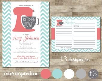 Kitchen Shower Invitation and Recipe Card, Kitchen shower, bridal shower, wedding showering, invitation, invite, recipe card