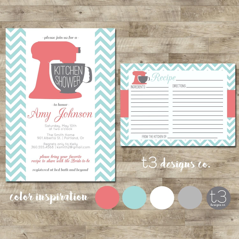 Kitchen Shower Invitation And Recipe Card, Kitchen Shower, Bridal Shower,  Wedding Showering, Invitation, Invite, Recipe Card Part 65